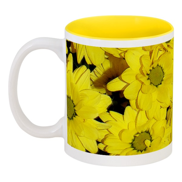 Кружка цетная нутри Printio Жёлтые хризантемы