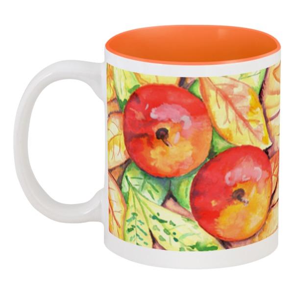 Кружка цветная внутри Printio Осенние яблоки