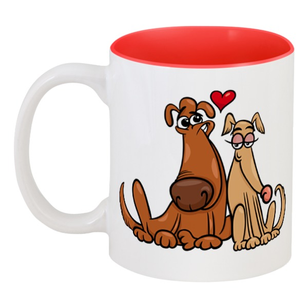 Кружка цветная внутри Printio Влюблённые собаки