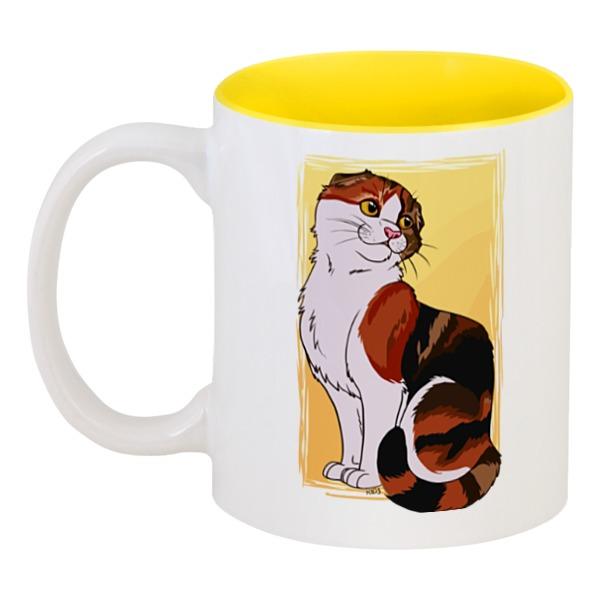 Кружка цветная внутри Printio Милая кошка кружка цветная внутри printio кружка женщина кошка catwoman
