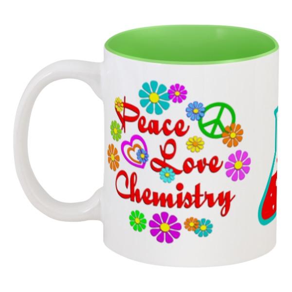 Кружка цветная внутри Printio Peace. love. chemistry