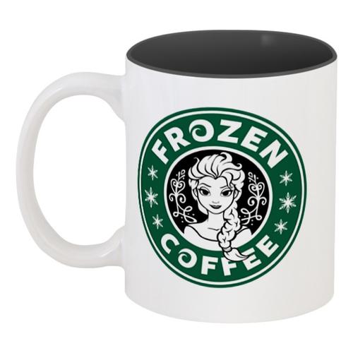 "Кружка цветная внутри ""Frozen Coffee"" - coffee, frozen, холодное сердце, frozen coffee, холодный кофе"