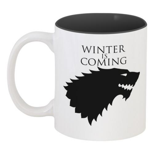 """Кружка цветная внутри """"Winter is coming"""" - волк, игра престолов, stark, старк, зима близко"""