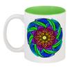 """Кружка цветная внутри """"Неоновые цветы механди"""" - цветы, этно, мандала, индийский, мехенди"""