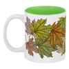 """Кружка цветная внутри """"кленовые листья мехенди"""" - листья, осень, деревья, этнический, мехенди"""