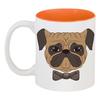 """Кружка цветная внутри """"Собака мопс"""" - собака, бантик, иллюстрация, мопс"""