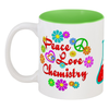 """Кружка цветная внутри """"Peace. Love. Chemistry"""" - биохимия, biochemistry, английский, любовь, счастье"""