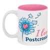 """Кружка цветная внутри """"I love Postcrossing"""" - i love, postcrossing, посткроссинг, почтовые открытки"""