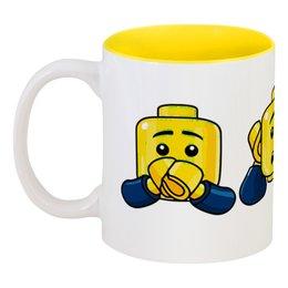 """Кружка цветная внутри """"Лего."""" - lego, конструктор, лего"""