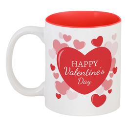 """Кружка цветная внутри """"Сердечки"""" - любовь, 14 февраля, сердечки, день влюбленных"""