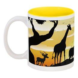 """Кружка цветная внутри """"Сафари на рассвете"""" - лето, птица, слон, природа, жираф"""