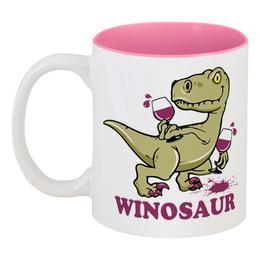 """Кружка цветная внутри """"Винозавр"""" - динозавр, вино, бокал, winosaur, винозавр"""