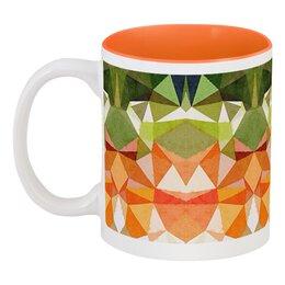 """Кружка цветная внутри """"Морковный фреш"""" - оранжевый, зеленый"""