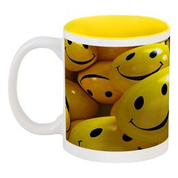 """Кружка цветная внутри """"Улыбашки"""" - смайл, смайлы, смайлики, smiles, улыбашки"""