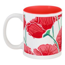 """Кружка цветная внутри """"Красные маки"""" - красиво, цветы, ярко, природа, маки"""