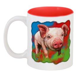 """Кружка цветная внутри """"Симпатичный свин"""" - новый год, свинка, свинья, хрюшка, поросёнок"""