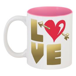 """Кружка цветная внутри """"День Св. Валентина"""" - день св валентина, валентинка, сердце, купидон"""