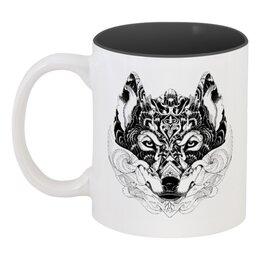 """Кружка цветная внутри """"Волк Стилизация"""" - волк, wolf, волчица"""