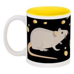 "Кружка цветная внутри ""Мышь (Крыса)"" - новый год, сыр, крыса, год крысы, 2020 год"
