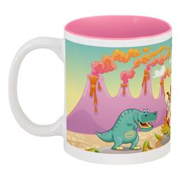"""Кружка цветная внутри """"Забавные динозаврики"""" - динозавры, динозавр, животное, динозаврики"""