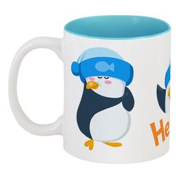 """Кружка цветная внутри """"стикерs"""" - пингвин, авторское, стикеры, животные, арт"""