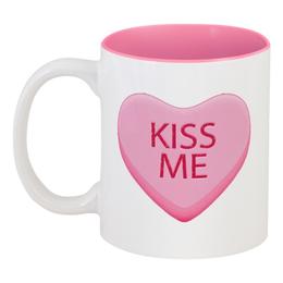 "Кружка цветная внутри ""Поцелуй меня"" - сердце, любовь, 14 февраля, kiss me, день влюблённых"