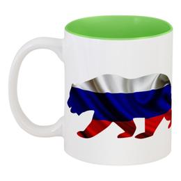 """Кружка цветная внутри """"Русский Медведь"""" - bear, медведь, русский, флаг, russian"""