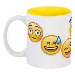 """Кружка цветная внутри """"emoji"""" - вк, смайлы, emoji"""