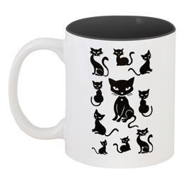 """Кружка цветная внутри """"Кошки"""" - рисунок, кошки, графика, чёрный кот"""