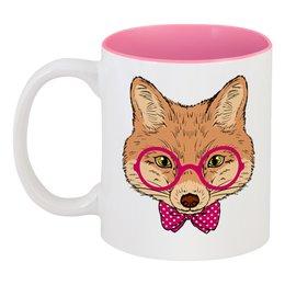 "Кружка цветная внутри ""Лисичка"" - очки, fox, лиса, животное"