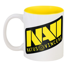 "Кружка цветная внутри ""Natus Vincere Logo (Yellow)"" - игры, dota, dota 2, navi, natus vincere, дота, edward, киберспорт, dendi, markeloff"