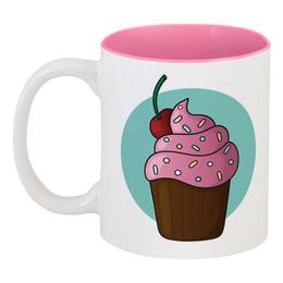 """Кружка цветная внутри """"Розовый кексик"""" - вишня, кекс, sweet, пирожное, cupcake"""