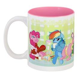 """Кружка цветная внутри """"Morning Ponies"""" - арт, доброе утро, pony, mlp, пони"""