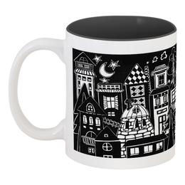 """Кружка цветная внутри """"Вечерний чай"""" - дом, луна, чай, уют, вечер"""