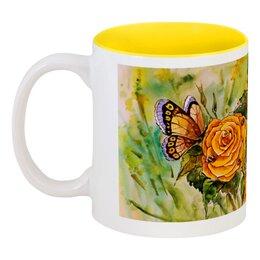 """Кружка цветная внутри """"Жёлтая роза"""" - цветы, рисунок, розы, жёлтая роза"""
