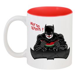 "Кружка цветная внутри ""Бэтмен (Batman)"" - batman, бэтмен"
