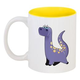 """Кружка цветная внутри """"Забавный  динозавр"""" - динозавр, животное, динозавры, динозаврик"""