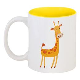 """Кружка цветная внутри """"Жираф"""" - животные, жираф"""