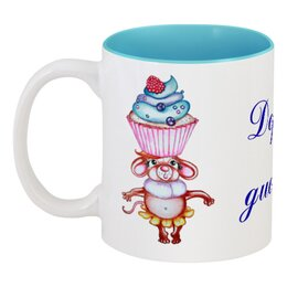 """Кружка цветная внутри """"Держу диету!"""" - диета, мышка, кекс, сладкое, пирожное"""