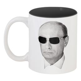 """Кружка цветная внутри """"Путин – Всё путём"""" - любовь, цветы, лошадь, москва, очки, владимир, россия, патриотизм, политика, путин"""