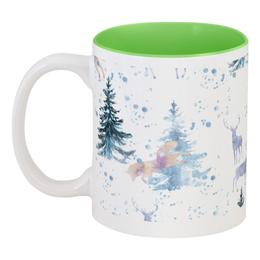 """Кружка цветная внутри """"Зимняя прогулка"""" - животные, новыйгод, елка, лось, лиса"""