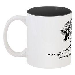 """Кружка цветная внутри """"Силуэт Бенгальского тигра. """" - силуэт, хищник, тигр, животное, бенгальский"""