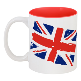 "Кружка цветная внутри ""Британский флаг"" - лондон, англия, флаг, британия"