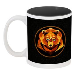 """Кружка цветная внутри """"Bear face"""" - bear, медведь, россия, огненный, bear art"""