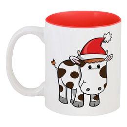 """Кружка цветная внутри """"Бычок (Новый год)"""" - новый год, бык, бычок"""