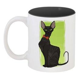 """Кружка цветная внутри """"Чёрная кошка"""" - cat, кот, кошка"""