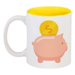 """Кружка цветная внутри """"Свинья - копилка"""" - новый год, деньги, доллары, 2019, год свиньи"""
