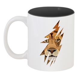 """Кружка цветная внутри """"Лев ( Lion)"""" - lion, лев, животное, хищник, царь зверей"""