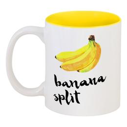 "Кружка цветная внутри ""Banana split"" - summer, банан, banana"