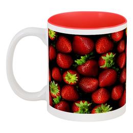 """Кружка цветная внутри """"мммм, Клубничка!"""" - арт, клубника, ягода, сочно"""